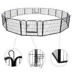 16 / 8 Panel Heavy Duty Pet Playpen Folding Cage Crate Dog Exercise Fence Kennel