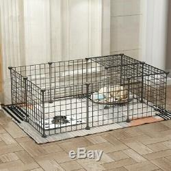 16 Panel 13.8''x13.8'' Metal Cage Crate Pet Dog Exercise Fence Playpen Kennel