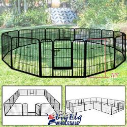16-Panel 32 Tall Folding Heavy Duty Metal Dog Playpen Exercise Fence Kennel