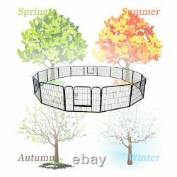 16 Panel Heavy Duty Metal Cage Crate Pet Dog Cat Fence Exercise Playpen Kennel