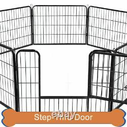 16 Panel Heavy Duty Metal Cage Crate Pet Dog Exercise Fence Playpen K