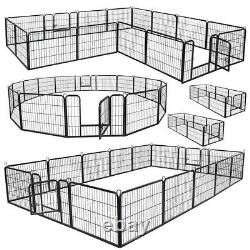 16 Panel Metal Cage Crate Pet Dog Exercise Fence Playpen Kennel Heavy Duty