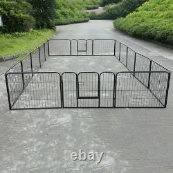 16 Panel Metal Cage Crate Pet Dog Exercise Fence Playpen Kennel Heavy Duty Mp