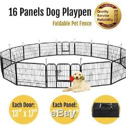 16 Panels 24 Large Dog Playpen Large Crate Fence Pet Play Pen Exercise Cage MX