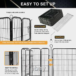 16 Panels Dog Cat Puppy Fence 140 Sq Ft Pet Exercise Outdoor Playpen Foldable QF