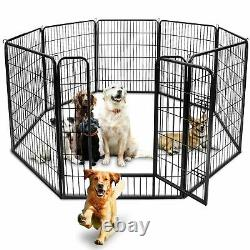 2440 Heavy Duty Metal Dog Cat Exercise Fence Playpen Kennel 8/16 Panel Safe