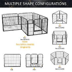 24H Pet Playpen Dog Kennel 8 Panel Indoor Outdoor Exercise Metal Portable Fence