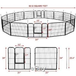 24Inch Tall Dog Playpen Large Crate Fence Pet Play Pen Exercise Cage 16Panels TO