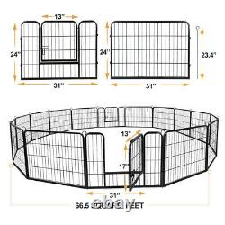 24Tall 16 Panel Durable Pet Playpen DIY Dog Exercise Fence Outdoor for Dog Duck