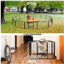 24'' 16 Panels Metal Dog Playpen Large Crate Fence Pet Play Pen Exercise Cage