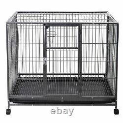 24/30/36/42/48 Wire Folding Pet Crate Dog Cat Cage Suitcase Exercise Playpen