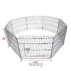 24 30 36 Tall Dog Cat Playpen Crate Fence Pet Play Pen Exercise Cage -8 Panel