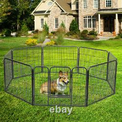 24/48'' H 8 Panels Folding Dog Pet Playpen Crate Exercise Fence Indoor & Outdoor