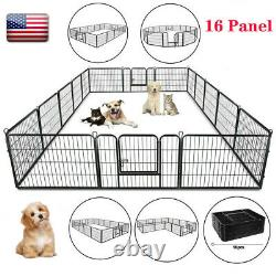24 Dog Playpen Crate 16 Panel Fence Pet Play Pen Exercise Puppy Kennel Cage US