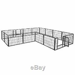 24 Dog Playpen Crate Pet Play Pen 16 Panel Fence Exercise Puppy Kennel Cage