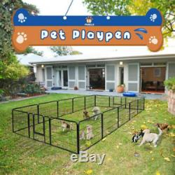 24 Heavy Duty Metal Dog Cat Exercise Fence Playpen Kennel 16 Panel Safe Fo