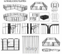 24 Metal Dog Cat Exercise Fence Playpen Kennel 16 Panel Safe For Pet Heavy Duty