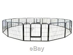 24 Tall 16 Panels Metal Pet Dog Puppy Cat Exercise Fence Barrier Playpen Kennel