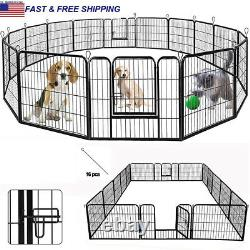 24 Tall Dog Playpen Crate Fence Pet Play Pen Exercise Cage -16 Panel Large ti
