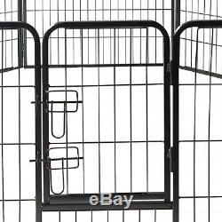 24 inch Pet Dog Playpen Heavy Duty Metal Exercise Playing Fence with 8 Panels