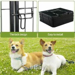 24in Dog Fence 16 Panel Playpen Crate Pet Play Yard Exercise Puppy Kennel Cage