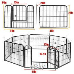 2X 8 Panel Heavy Duty Metal Pet Dog Exercise Fence Playpen Kennel Playyard 24