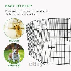 30 Dog Playpen Crate 8 Panel Fence Pet Play Pen Exercise Puppy Kennel Cage