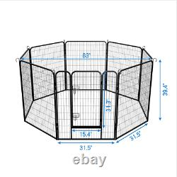 30 Inch 8 Panels Tall Dog Playpen Large Crate Fence Pet Play Pen Exercise Cage