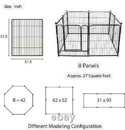 31 inch Tall Dog Playpen with Door, 8 Panel Folding Metal Puppy Exercise Pet NEW