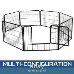 32X24 Dog Playpen Crate 16 Panel Fence Pet Play Pen Exercise Puppy Kennel Cage