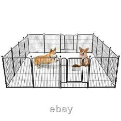32 16 Panels Dog Playpen Crate Pet Fence Play Pen Exercise Puppy Kennel Cage