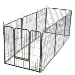 32 8 Panel Heavy Duty Metal Cage Crate Pet Dog Exercise Fence Playpen Kennel US