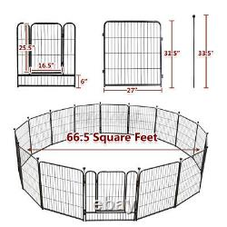 32 Inch 16 Panels Metal Dog Playpen Large Crate Fence Pet Play Pen Exercise Cage