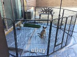 32 Inch Tall Dog Kennel Playpen with Gate 8 Panel Pen Extra Large Exercise Black
