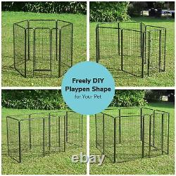 32x48 16 Pieces Pet Playpen Extra Large Dog Exercise Fence Panel Crate Outdoor
