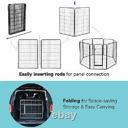 32x48 8 Pieces Pet Playpen Extra Large Dog Exercise Fence Panel Crate Camping