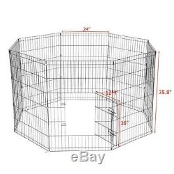 36 Tall Wire Fence Pet Dog Cat Folding Exercise Yard 8 Panel Metal Play Pen Bla