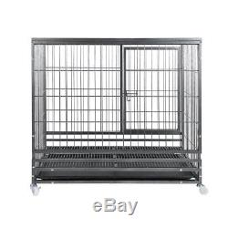 37Dog Cage Crate Heavy Duty Kennel Metal Playpen Pet Exercise Pen & Tray WheelK