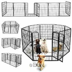 39H Heavy Duty Metal Dog Cat Exercise Fence Playpen Kennel 8 Panel Safe For Pet