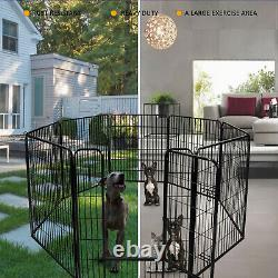 39H Pet Playpen Dog Kennel 8 Panel Indoor Outdoor Exercise Metal Portable Fence
