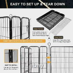40H Heavy Duty 8 Panel Metal Cage Crate Pet Dog Exercise Fence Playpen Kennel