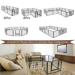 40/24 Tall Folding 8/16 Panel HeavyDuty Metal Dog Playpen Exercise Fence Kennel