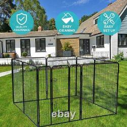 40'' 8 Panels Metal Dog Playpen Large Crate Fence Pet Play Pen Exercise Cage