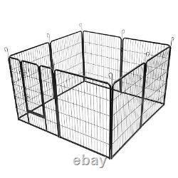 40 8 Panels Tall Dog Playpen Large Crate Fence Pet Play Pen Exercise Cage Black
