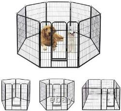 40 Dog Playpen Crate 8 Panel Fence Pet Play Pen Exercise Puppy Kennel Cage Yard