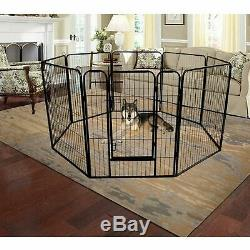 40 Heavy Duty Metal Dog Cat Exercise Fence Playpen Kennel 8 Panel Safe For Pet