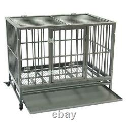 42 Dog Crate Cage Kennel Pet Playpen Metal Tray Exercise Pan Heavy Duty L