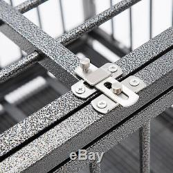 42'' Dog Crate Heavy Duty Cage Kennel Solid Metal Pet Playpen Exercise with Tray