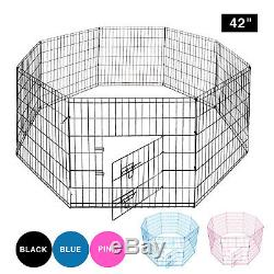 42'' Dog Playpen Crate Pet Play Pen Exercise 8 Panel Fence Puppy Kennel Cage