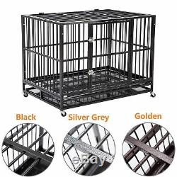 42 Heavy Duty Dog Cages Crate Kennel Metal Pet Playpen Exercise with Tray& Wheels
